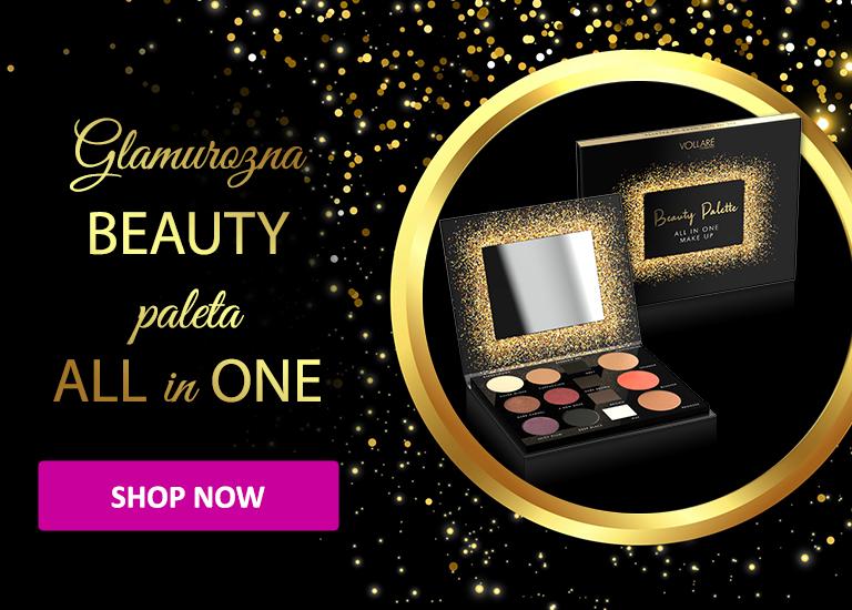 Paleta senki za oči, senki i voska za obrve, bronzera, rumenila i hajlajtera VOLLARE Beauty Palette